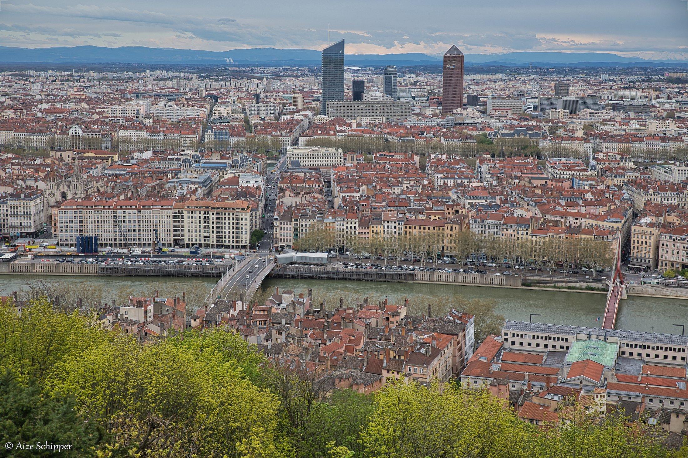 Lyon vanaf de Notre Dame de Fourviere